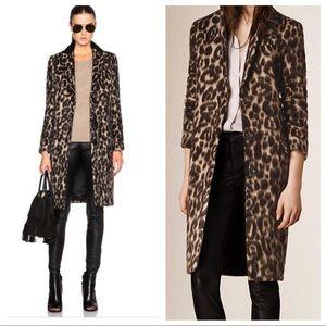 Burberry London angora wool leopard coat